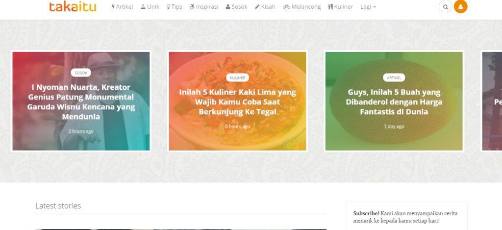 Tampilan Website Takaitu