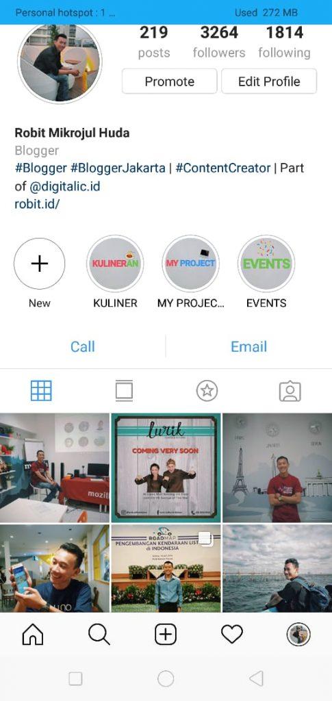 Akun Instagram @RobitMH